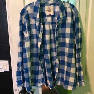 Blue and whit plaid button down